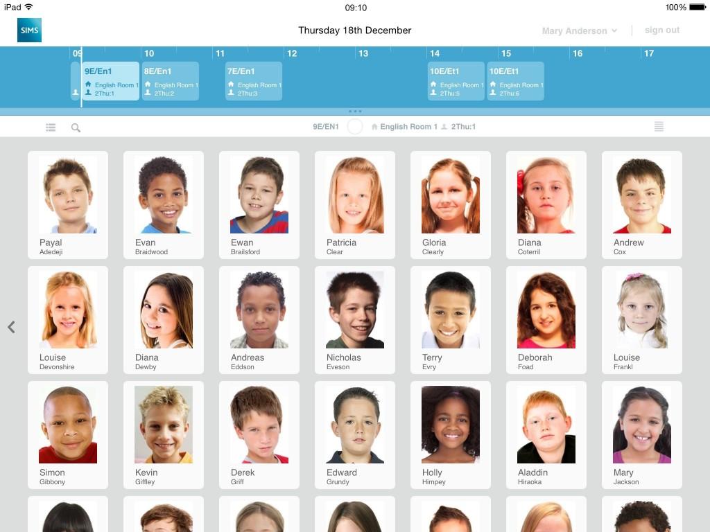 A screenshot from the new SIMS Teacher App
