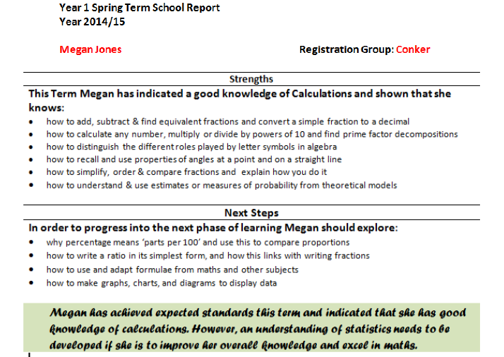 This reprot can be sent to parents and is very customisable.