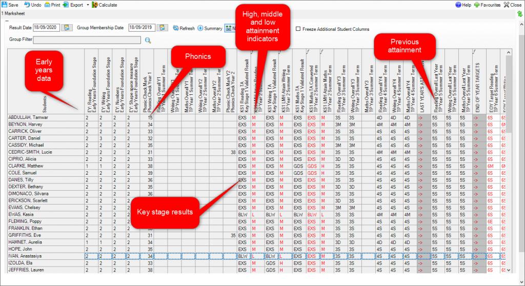 SIMS marksheet showing year 6 data